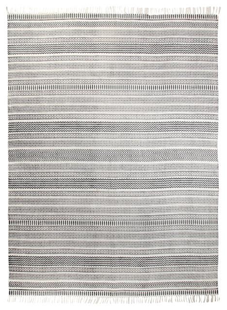 Fes Gray And Cream Geometric Rug, 9&x27;x12&x27;.