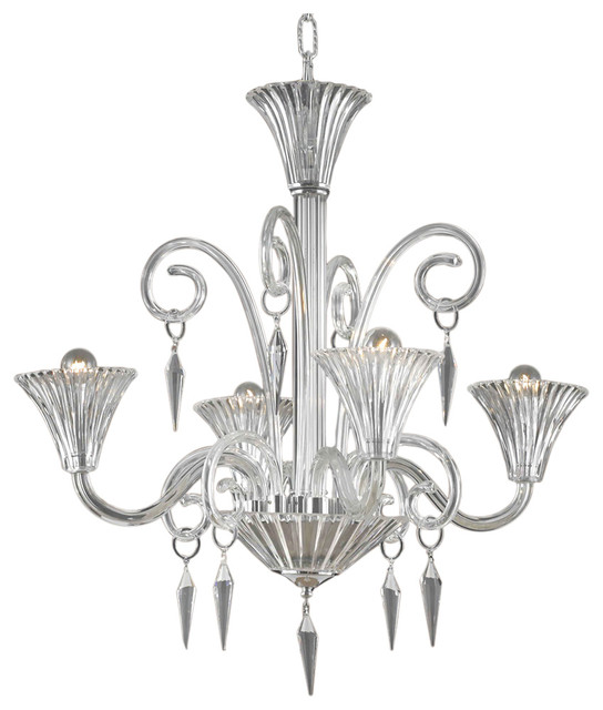 Murano Design 4 Light 28 Clear Chandelier With Murano