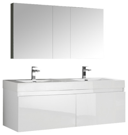 Mezzo 60 White Wall Hung Double Sink Bathroom Vanity Set, Gravina Chrome Faucet.