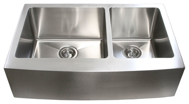 "Stainless Steel Curved-Front Apron Double-Bowl Kitchen Sink, 33""."