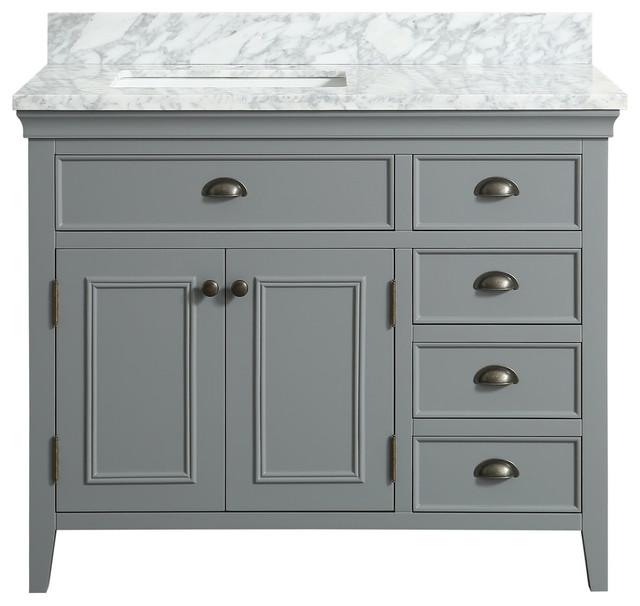 Broden Marble Top Gray Bathroom Vanity Transitional Bathroom - White bathroom vanity with gray top