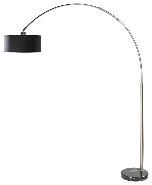 Sophia Adjustable 81&x27;&x27; Arc Floor Lamp With Marble Base, Black.