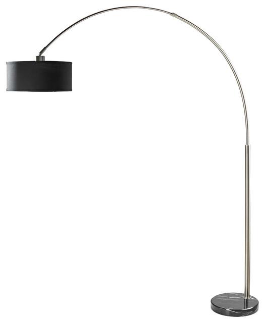 Sophia Adjustable 81&x27;&x27; Arc Floor Lamp With Marble Base, Black. -1