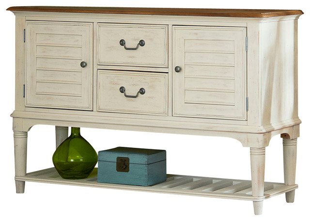 Dining Room Server, Weathered Sand and White - Farmhouse ...
