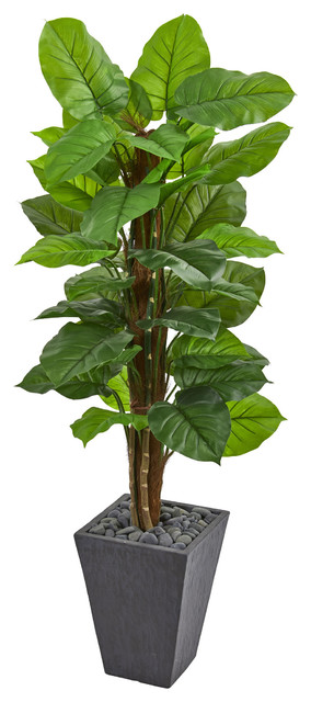 5 Ft Large Leaf Philodendron Artificial Plant In Slate Planter