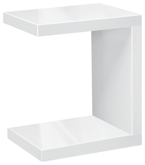 Solina Accent Table Side U Shape White High Gloss Modern Tables And End By Designs Phoenix Group