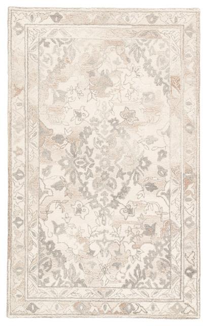 Jaipur Living Arabia Handmade Floral White/gray Area Rug, 9&x27;x12&x27;.