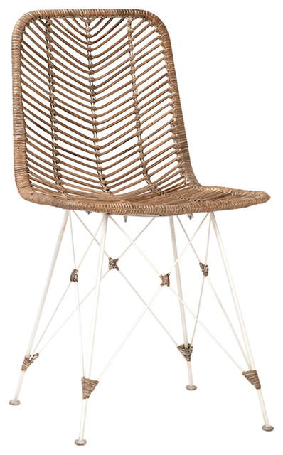 White Frame Rattan Dining Chair, White Rattan Dining Room Chairs
