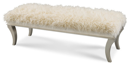 Aico Michael Amini Hollywood Swank Platinum Faux Sheepskin Bed Bench