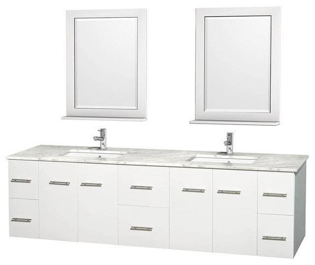 Centra 80 White Double Vanity Carrera Marble Top Undermount Square Sink