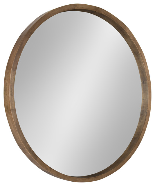 Hutton Round Wood Wall Mirror Transitional Wall Mirrors By Uniek Inc