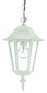 Camelot 1-Light Outdoor Hanging Lantern, Textured White