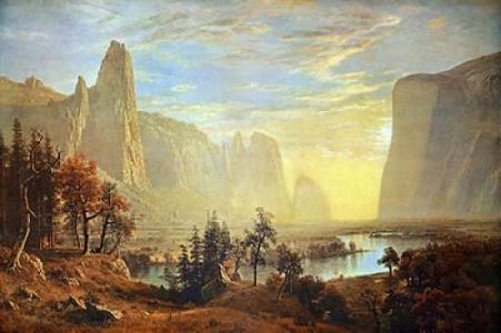 Albert Bierstadt Looking up Yosemite Valley Art Landscape Print Poster 24x36