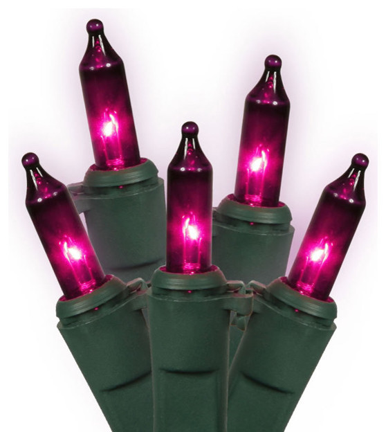 Pink-Purple Mini Christmas Lights, Green Wire, Set Of 100 , 45.6&x27;.