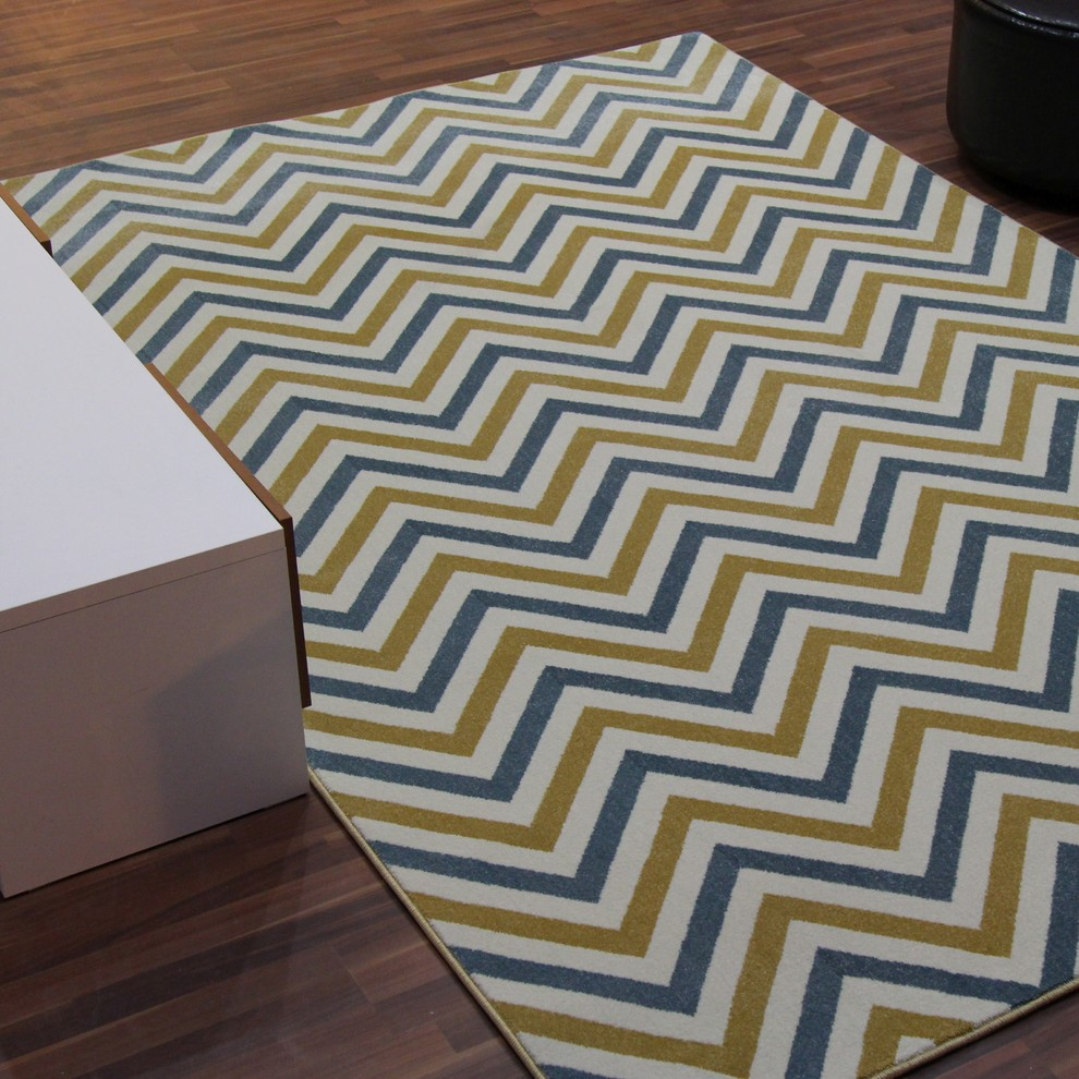 Blue And Yellow Chevron Rug Contemporary Area Rugs By Cozy Rugs Houzz