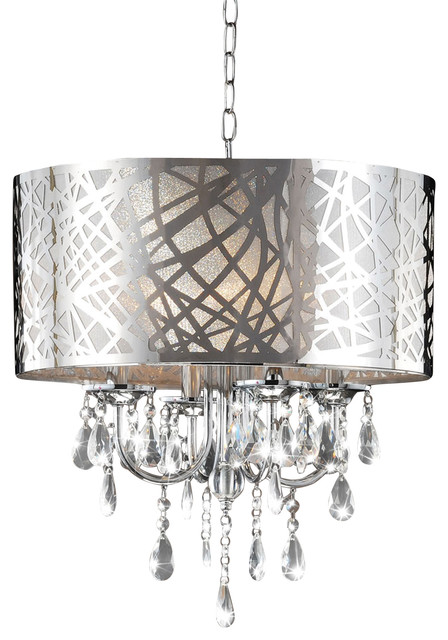 Heidi 4 Light Crystal Chandelier Chrome
