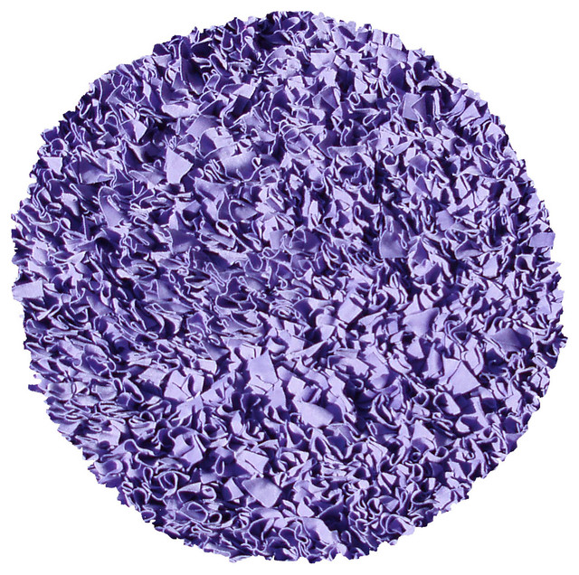 Shaggy Raggy Area Round Rug, Purple, 4&x27;x4&x27;.