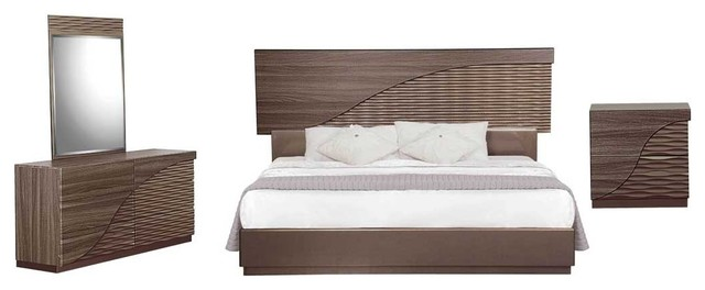 North 5 Piece Bedroom Set Zebra Wood And Gold Line King