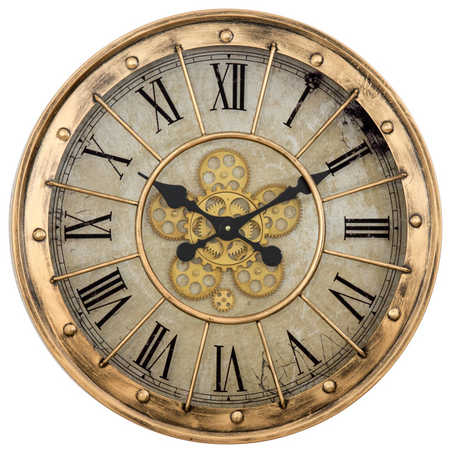 Yosemite Gilded Round Gear Clock 5140040 Industrial Wall Clocks By Hedgeapple Houzz
