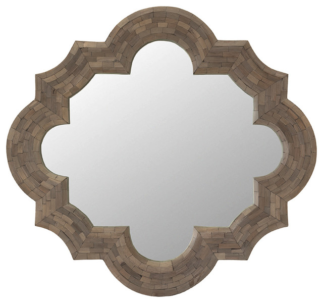 Wood Wall Mirror quatrefoil ash wood wall mirror - mediterranean - wall mirrors