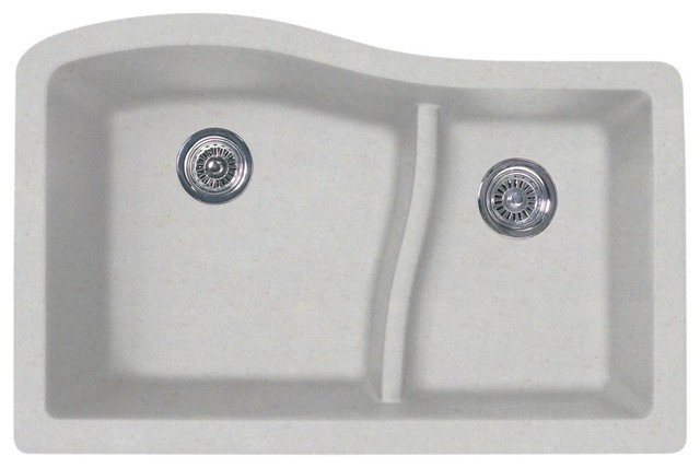 Swan Granite Large/Small Double Bowl Undermount Kitchen Sink 32 x21  Granito  sc 1 st  Houzz & Swan Granite Large and Small Double Bowl Undermount Kitchen Sink 32 ...
