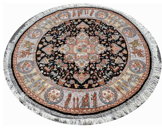 Nami Silk Black Round Persian Rug 5u0027x5u0027 Traditional Area Rugs