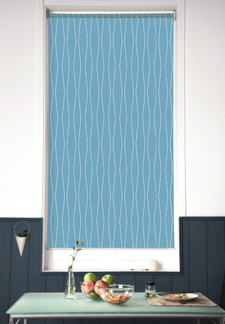 Blinds.com Architectural Roller Shades in Harlequin Cornflower contemporary-kitchen