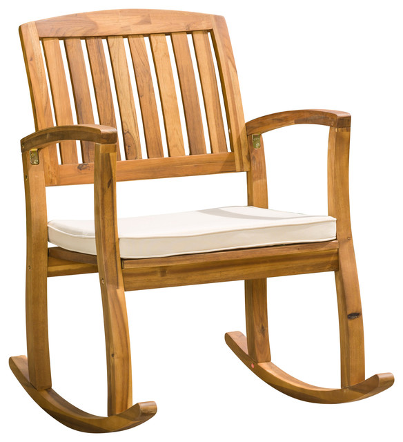 Shop Houzz GDFStudio Sadie Outdoor Acacia Wood Rocking Chair With Cushion