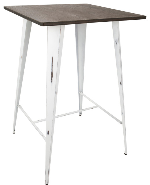 LumiSource Oregon Pub Table With Vintage White Frame And Espresso Wood