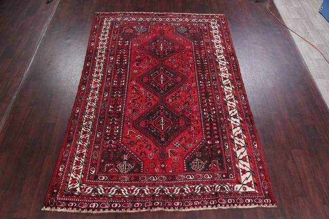 Persian Worn Oriental Style Rug Red