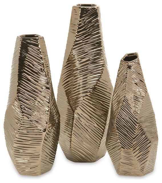 Metallic Geometric 3 Piece Vase Set Bronze Contemporary Vases