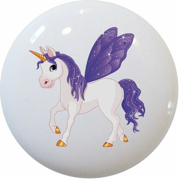 Purple Unicorn Ceramic Cabinet Drawer Knob And
