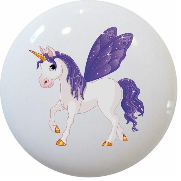 Purple Unicorn Ceramic Cabinet Drawer Knob