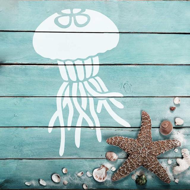 Little Jellyfish Nautical Stencil Diy Beach House Decor Small