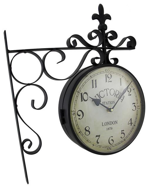 zeckos double sided victoria station decorative wall clock wall clocks