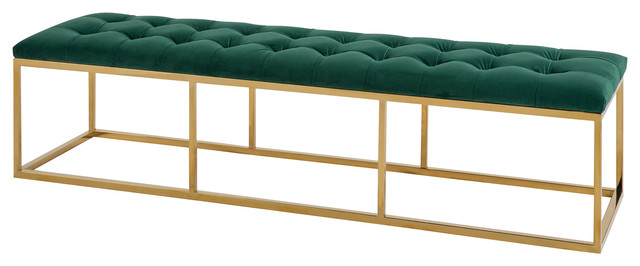 Estevan Velvet Bench, Gold, Green.