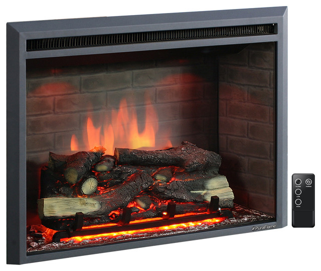 Puraflame Western Electric Fireplace Insert With Remote Control, 750/1500w, 33.