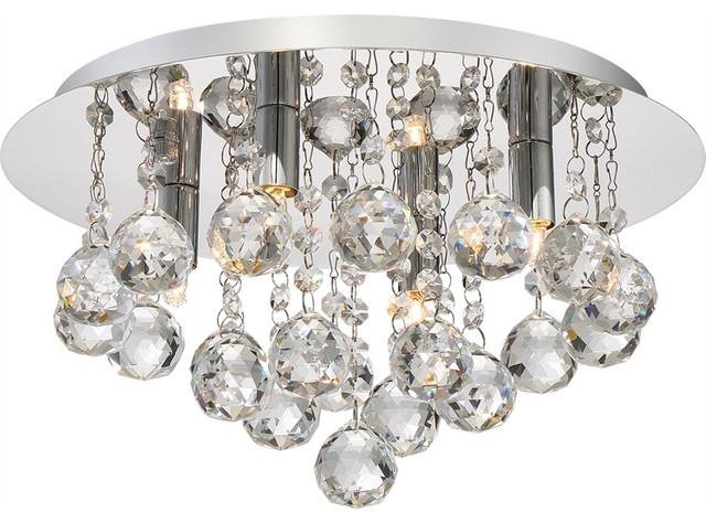 Quoizel Bordeaux With Clear Crystal Flush Mount, Polished Chrome.
