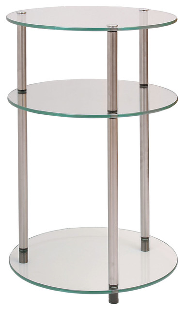 3 Tier Round Table Clear Contemporary Side Tables And End
