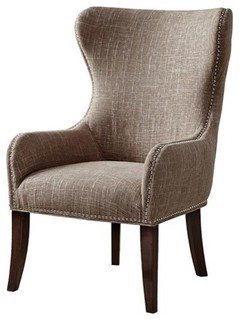 Penelope Upholstered Wingback Chair, Camel