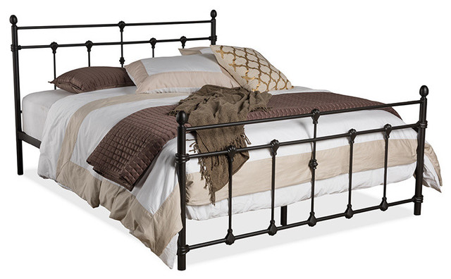 Belinda Shabby Chic Antique Dark Bronze Iron Metal Platform Bed, Queen.