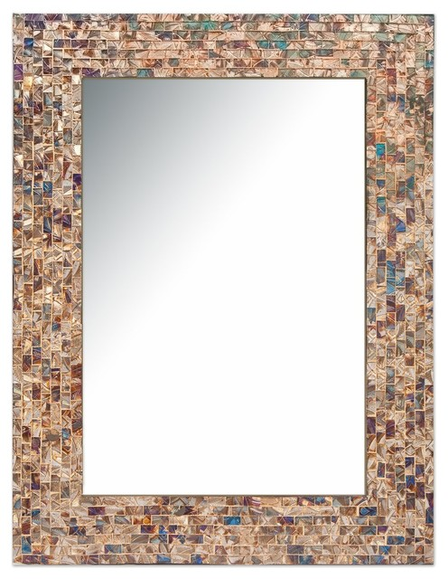 Decorative Gold Mirrors. Multi Colored  Gold Luxe Mosaic Glass Framed Decorative Wall Mirror 24
