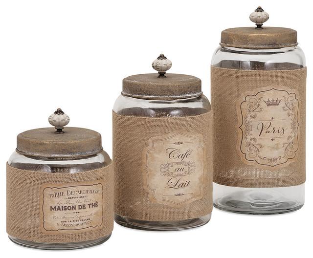 Carley Lidded Glass Jars, 3-Piece Set - Farmhouse - Kitchen ...