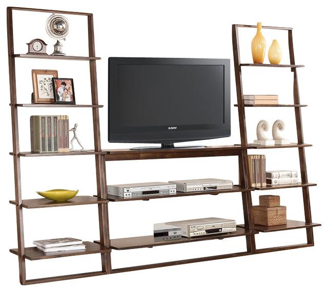riverside furniture lean living 3piece tv stand set burnished brownstone