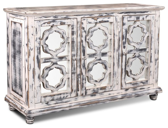 Keystone Distressed White Mirrored Sideboard/Cabinet