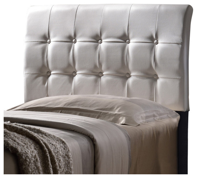 Lusso Headboard Set, Queen, White Faux Leather.