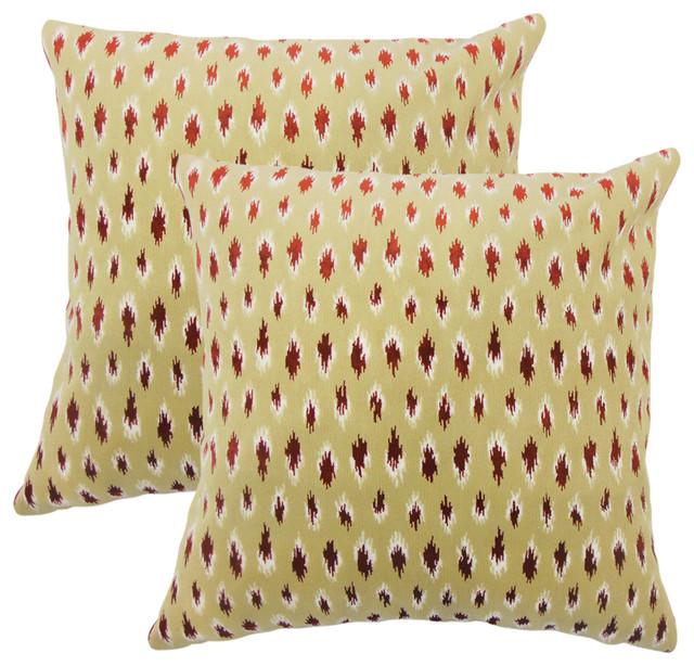 Ontibile Ikat Throw Pillows, Set of 2, Cayenne