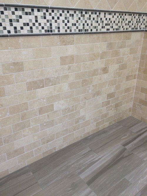 Dark Porcelain Title Bathroom Floor With Half Wall Tile Design