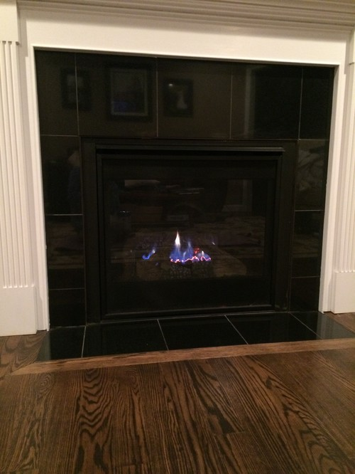 This is our gas fireplace at our new construction home. When the fire is off