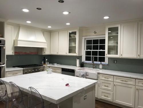White Dove Cabinets With White Quartz